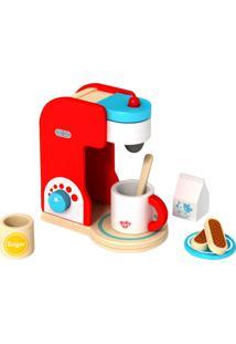 Conjunto Tooky Toy Cafeteira Em Madeira Com Acessórios - Tkc481 - Vermelho