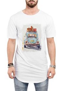 Camiseta Criativa Urbana Long Line Oversized Fusca Azul Carro Antigo Clássico Viagem - Masculino
