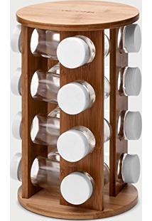 Porta Temperos Giratório Tabelle Em Bambu 16 Peças - Lemann