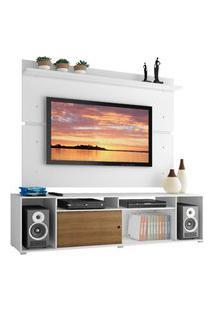 Rack Madesa Cancun E Painel Para Tv Até 65 Polegadas - Branco/Rustic/Branco Branco