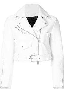 Calvin Klein 205W39Nyc Jaqueta Biker Cropped - Branco