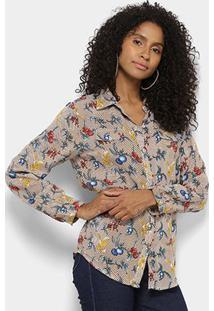Camisa Manga Longa Lily Fashion Floral Feminina - Feminino-Marrom