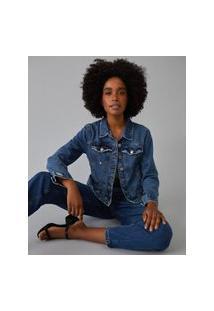 Amaro Feminino Jaqueta Jeans Vintage, Azul Médio