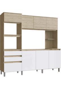 Cozinha Canela 8 Portas 2 Gavetas Malbec/Branco Decibal Moveis