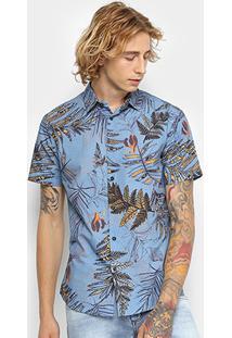 Camisa Manga Curta Coca-Cola Estampada Floral Masculina - Masculino