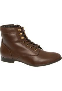 Ankle Boot Em Couro Chocolate Com Detalhes Dourados
