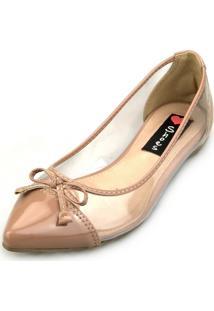 Sapatilha Love Shoes Transparente Vinil Laço Nude