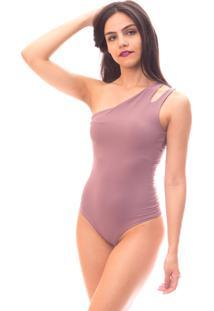 Body Moda Vicio Um Ombro Só Vazado Nude