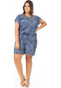 Macacão Jeans Confidencial Extra Plus Size Feminino - Feminino-Azul