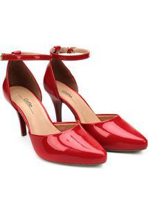 Scarpin Griffe Recorte Salto Alto - Feminino-Vermelho