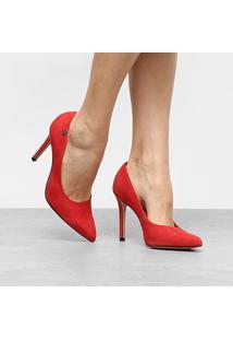Scarpin Couro Verofatto Salto Alto Clássico - Feminino-Vermelho