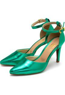 Sapato Scarpin Salto Alto Fino Em Verde Metalizado