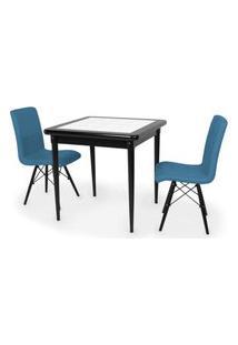 Conjunto Mesa De Jantar Em Madeira Preto Prime Com Azulejo + 2 Cadeiras Gomos - Turquesa