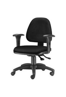 Cadeira Sky Com Bracos Assento Courino Preto Base Nylon Arcada - 54800 Preto