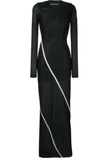Y/Project Vestido Longo Com Stretch - Preto