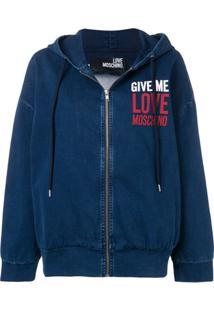 Love Moschino Jaqueta Jeans Com Capuz - Azul