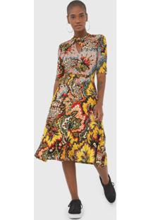 Vestido Desigual Midi Arlene Amarelo/Preto