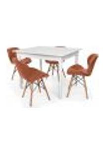 Conjunto Mesa De Jantar Robust 110X90 Branca Com 4 Cadeiras Eames Eiffel Slim - Marrom