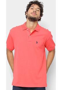 Camisa Polo U.S. Polo Assn Básica Lisa Masculina - Masculino-Coral