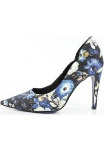 Scarpin Week Shoes Salto Alto Floral Azul
