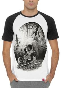 Camiseta Raglan Caveira Forest - Masculino