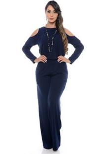 Macacão B'Bonnie Pantalona Ombro Feminino - Feminino-Azul+Marinho