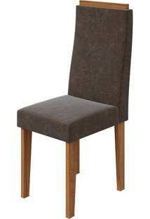 Cadeira Dafne Velvet Chocolate Rovere Naturale