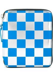 Comme Des Garçons Wallet Carteira De Couro Xadrez - Azul