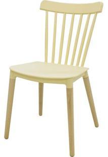 Cadeira Pierre Amarelo Pastel Com Base Madeira - 53053 - Sun House