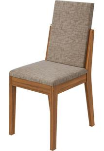 Cadeira Lira Velvet Riscado Bege Rovere Naturale