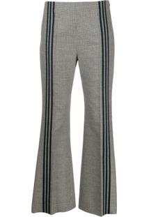 Maison Margiela Houndstooth Piped Flared Trousers - Cinza