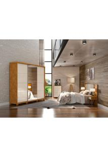Dormitório Casal Isadora C/ Espelho Nature Off White Madeirado Robel Móveis