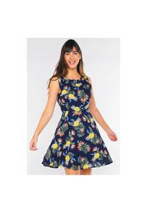 Vestido Estampado Floral Abacaxi Rodado Under79 Azul Marinho