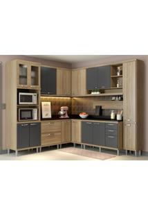 Cozinha Completa Multimóveis Com 10 Peças Sicília 5803 Argila/Grafite