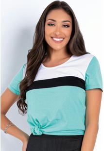 Blusa Tricolor Com Recortes Na Frente