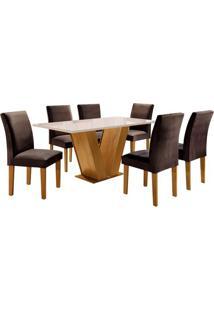 Conjunto De Mesa De Jantar Com 6 Cadeiras Classic L Suede Off White E Marrom