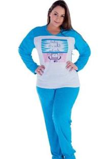Pijama Feminino Victory Inverno Plus Size Frio Dormir - Feminino-Azul