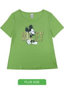 Blusa Plus Size Em Viscose Estampada Verde