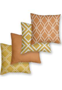 Kit 4 Capas De Almofadas Decorativas Own Estampa Geométrica Laranja E Amarelo 45X45 - Somente Capa