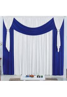 Cortina Franci 4,00M X 2,80M Tecido Malha Gel - Azul E Branco