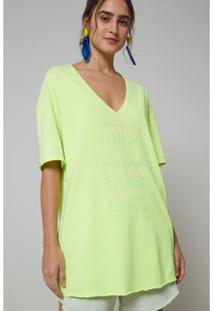 Blusa Oh, Boy! Decote V Neon Amarelo Neon Feminina - Feminino-Verde Limão