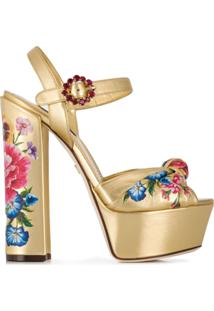 Dolce & Gabbana Sandália Plataforma - Dourado