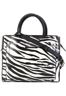 Bolsa Couro Jorge Bischoff Grande Estampada Feminina - Feminino-Zebra