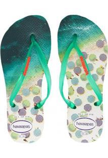 big sale 3a3ed c94f7 Chinelo Havaianas Feminino Verde Slim - Feminino-Verde Paisage