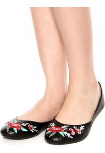 Sapatilha Dafiti Shoes Bordado Floral Preta