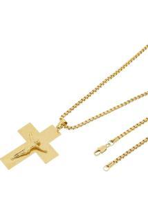 Pingente Cruz Com Corrente Veneziana Tudo Jóias Folheado A Ouro 18K Dourada