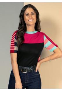 Blusa Em Tricô Listras Color Com Mangas Curtas