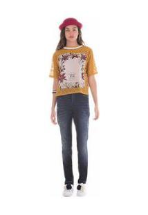 Calça Zinco Skinny Regular Cós Intermediário Barra Desmanchada Jeans - 34