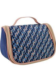 Necessaire De Viagem Jacki Design Estampada Classic Feminina - Feminino-Azul
