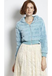 Jaqueta Cropped Em Pelúcia Com Capuz- Azul- Jô Fashijô Fashion